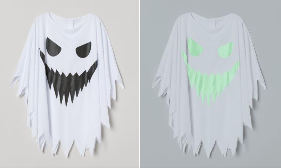 Capa fantasma H&M blanca brillo en la oscuridad Halloween 2020