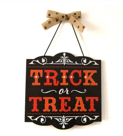 Cartel de madera. Truco o Trato de Aliexpress. Halloween
