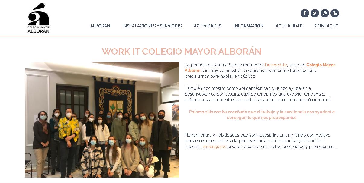 Publicación de la sesión en la web del Colegio Mayor Alborán