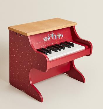 Piano madera rojo Navidad Zara Home