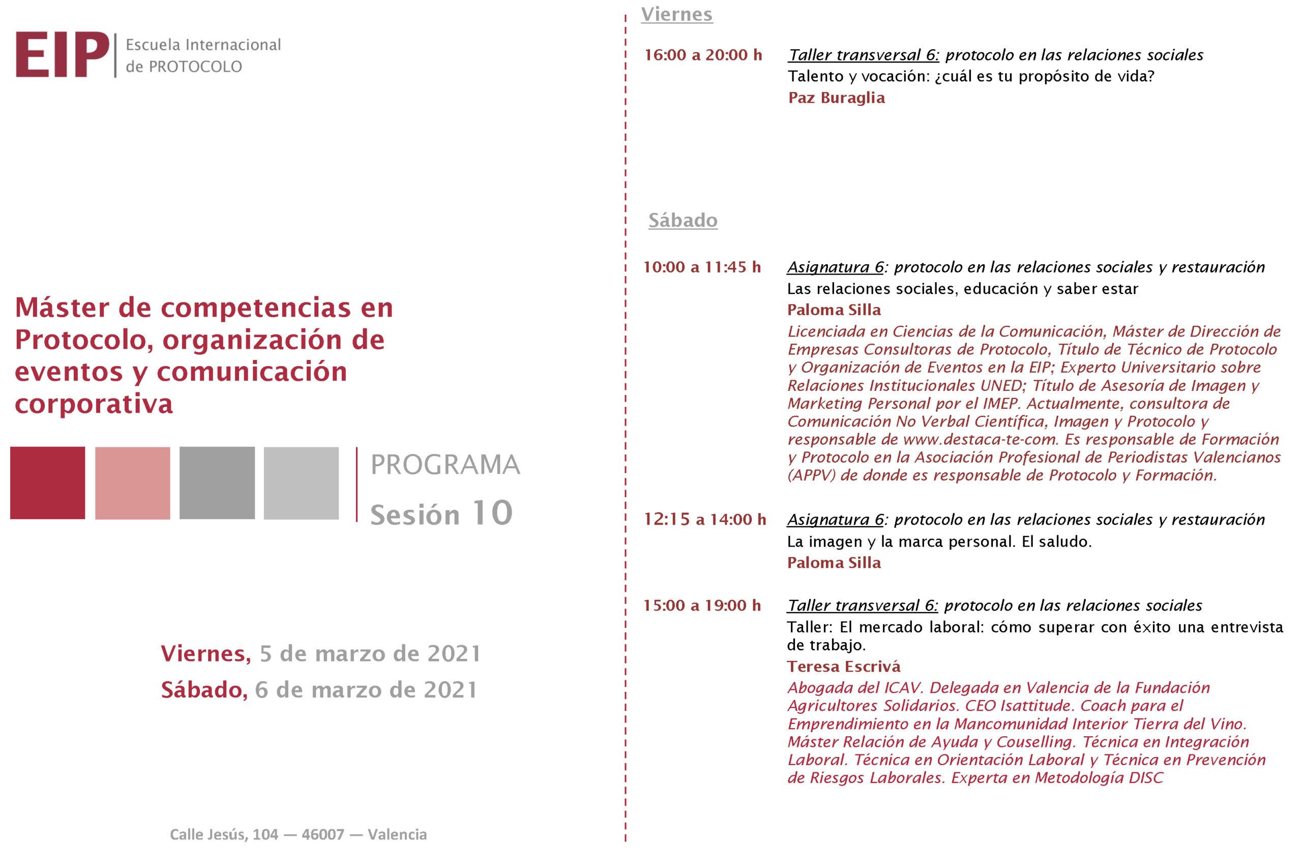 Escuela Internacional de Protocolo Valencia EIP Protocolo Social Paloma Silla Destáca-te Marca Personal Etiqueta Imagen Comunicación No Verbal programa